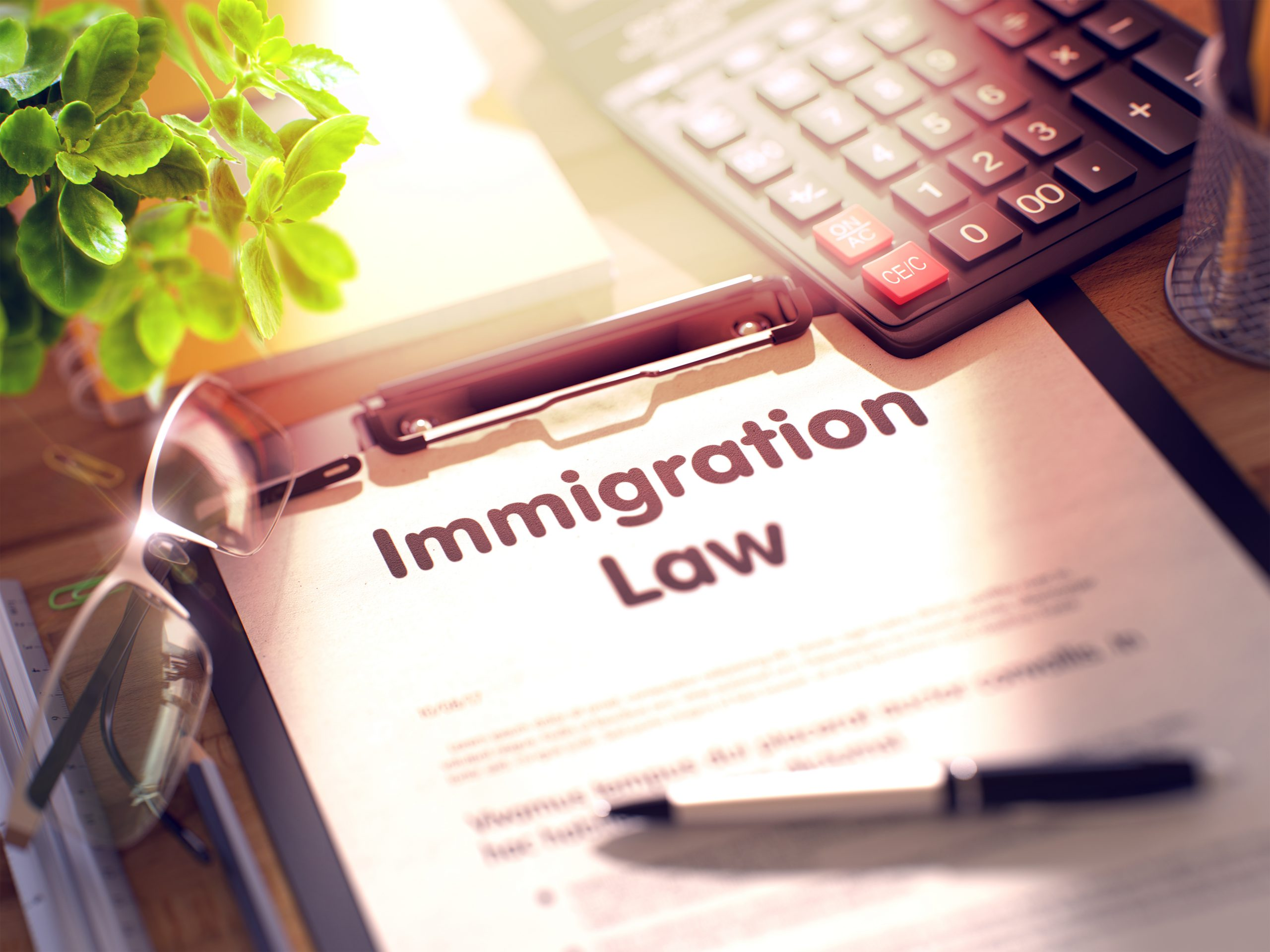 Immigration Law on Clipboard. Wooden Office Desk with a Lot of Business and Office Supplies on It. 3d Rendering. Blurred and Toned Illustration.
